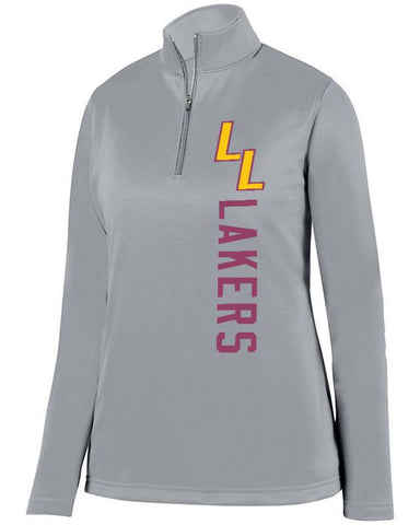 Grey Lapeer Lakers Ladies 1/4 Wicking Fleece Pullover