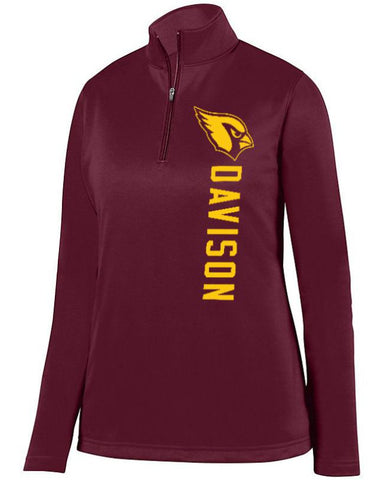 Maroon Davison Cardinals Ladies 1/4 Wicking Fleece Pullover