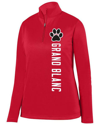 Red Grand Blanc Bobcats Ladies 1/4 Wicking Fleece Pullover