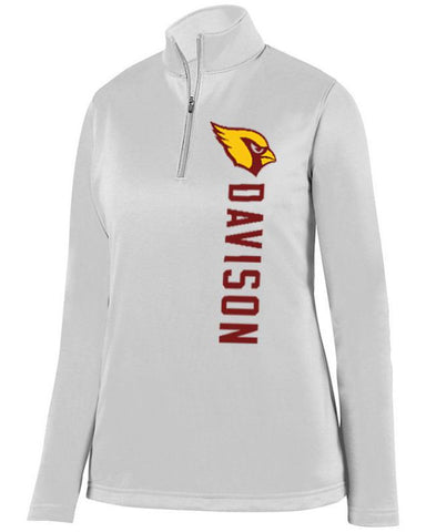 White Davison Cardinals Ladies 1/4 Wicking Fleece Pullover