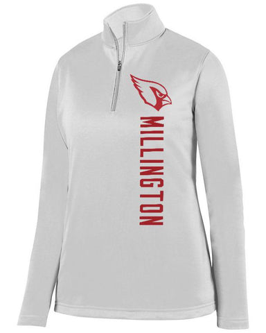 White Millington Cardinals Ladies 1/4 Wicking Fleece Pullover