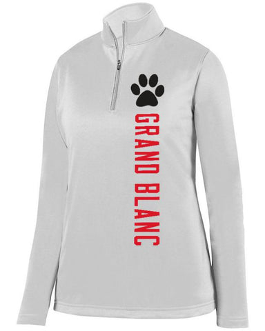 White Grand Blanc Bobcats Ladies 1/4 Wicking Fleece Pullover
