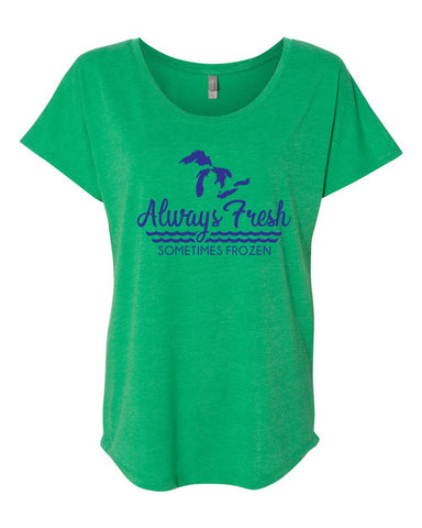 Ladies Always Fresh Flowy Tee (Envy Green)