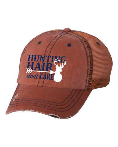 Hunting Hair Orange/Navy Unstructured Trucker Cap