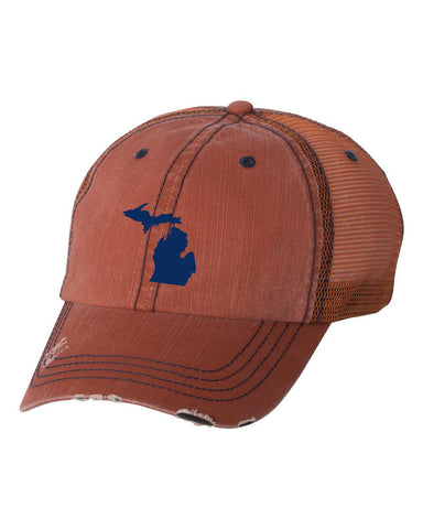 Michigan Orange Herringbone Unstructured Trucker Cap
