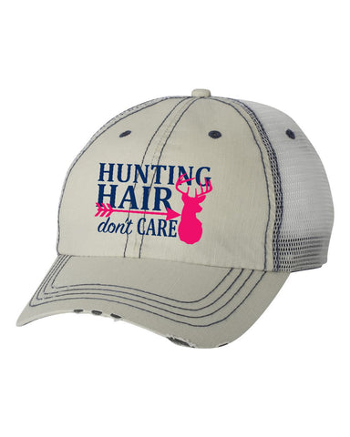 Hunting Hair Putty/Navy Unstructured Trucker Cap