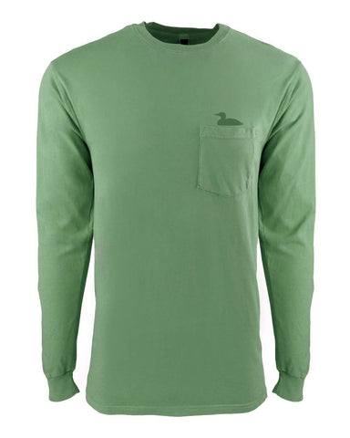 Life At The Lake Clover Dye Long Sleeve Pocket Crew