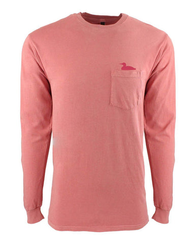Life At The Lake Mauve Dye Long Sleeve Pocket Crew