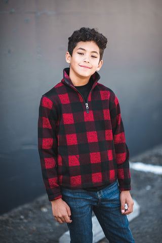 KODIAK Youth Plaid Quarter Zip