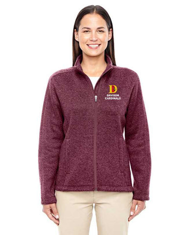 Ladies Davison Cardinals Full Zip Sweater Fleece Jacket