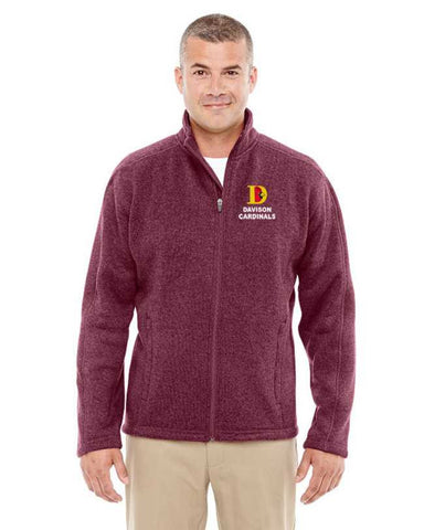 Davison Cardinals Full Zip Sweater Fleece Jacket