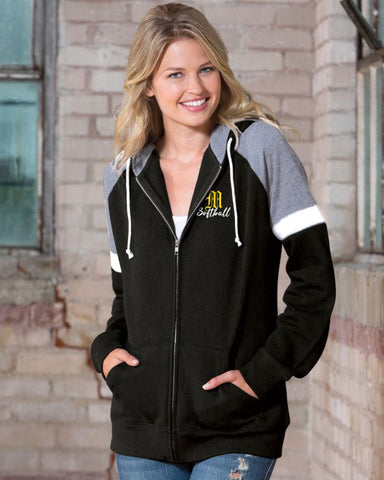 Mott Softball Ladies Colorblock Full Zip Hood