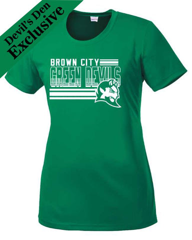 "Brown City ""Lines"" Ladies Performance T-Shirt"