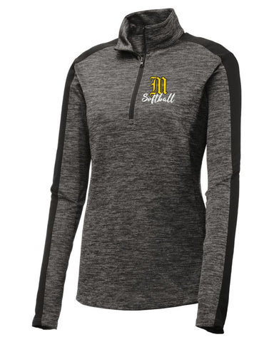 Mott Softball Ladies Lightweight Electric Heather Colorblock 1/4-Zip Pullover