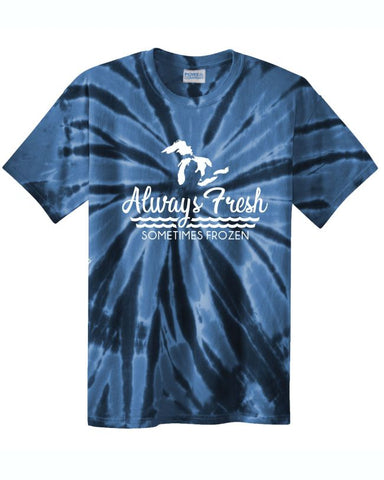 Always Fresh, Sometimes Frozen Navy Tie Dye T-Shirt