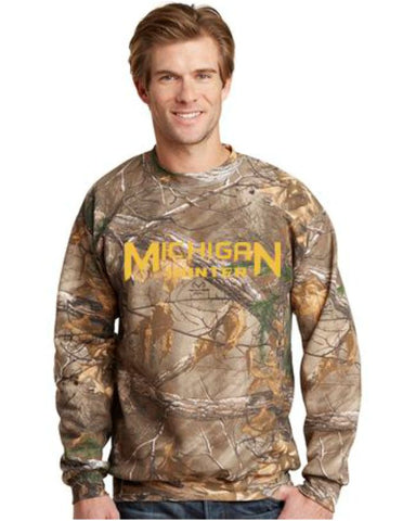 "Embroidered ""Michigan Hunter"" Crew Sweatshirt"