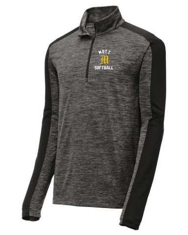 Mott Softball Lightweight Electric Heather Colorblock 1/4-Zip Pullover