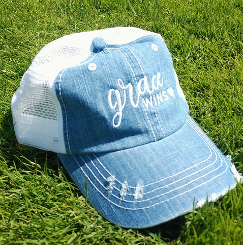 """Grace Wins"" Denim Trucker Hat"