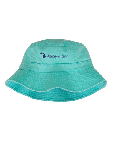 "Sea Foam ""Michigan Girl"" Bucket Hat"