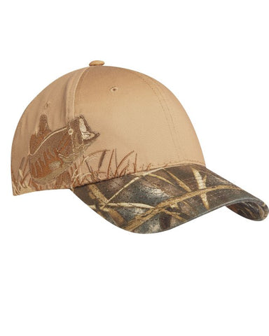 Fish Embroidered Camouflage Cap