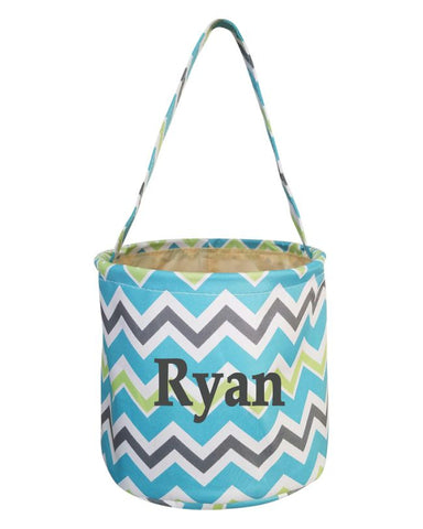 Embroidered Easter Basket - Blue Chevron