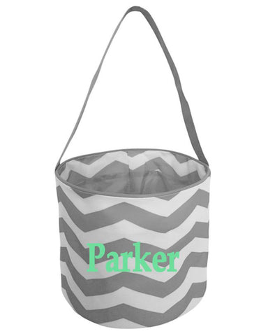Embroidered Easter Basket - Grey Chevron