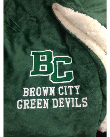Green Brown City Sherpa Blanket