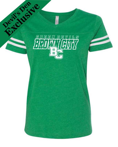 Green Devil Ladies Stripe Football Tee