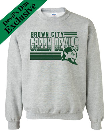 "Brown City ""Lines"" Basic Crew Sweatshirt"