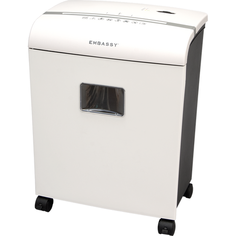 embassy paper shredder For more info or to buy now: embassy 14sheet microcut paper, credit card and cd shredder arm yourself against identity thieves this powerful shredder devours confidential documents, credit cards and even cds or dvds its prices shown on the previously.