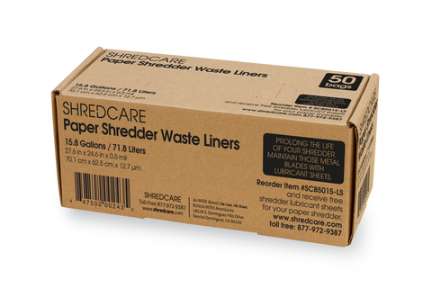 Shredcare Paper Shredder 15.8 Gallon Waste Liners, 50 Qty - SCB5015-LS