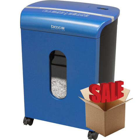 Boxis® NanoShred™ BN100P-BLE-R OPEN BOX 10 Sheet Nanocut™ Shredder - Blue<br> NANO-SHRED™ - THE NEXT EVOLUTION OF PAPER SHREDDERS
