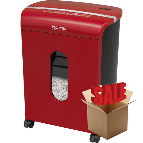 Boxis® NanoShred™ BN100P-RED-R OPEN BOX 10 Sheet Nanocut™ Shredder - Red<br> NANO-SHRED™ - THE NEXT EVOLUTION OF PAPER SHREDDERS