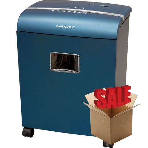 Embassy® 10 Sheet Microcut Paper Shredder LM101Piv-R Metallic Blue OPEN BOX