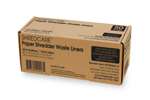 Shredcare Paper Shredder 43.0 Gallon Waste Liners, 50 Qty - SCB5043