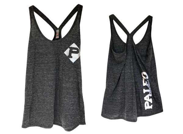 Women's Dark Grey Racerback Tank with Reflective Logos