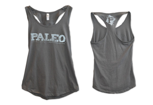Women's Grey Racerback Tank with Reflective Logos