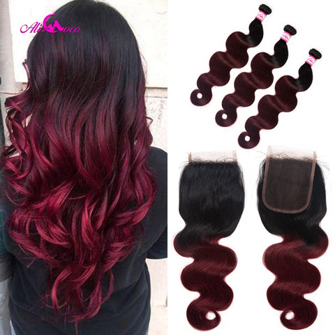 Ali Coco Brazilian Body Wave With Lace Closure 1B/99J 12-28 Inch 100% Human Hair Bundles Omber Remy Hair Closure With Baby Hair