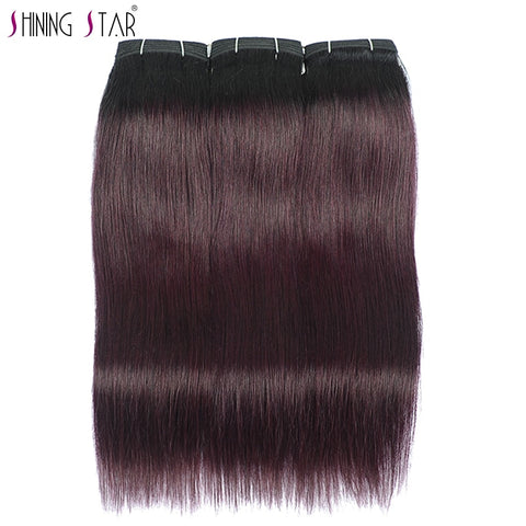 Shining Star Pre-Colored Grape Purple Human Hair Weave Bundles Dark Burgundy Red Brazilian Straight Hair Bundles 26 Inch Nonremy