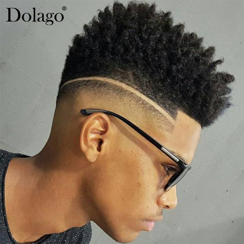 Afro Curly 100% Human Hair Toupee For Men Natural Looking European Human Hair Toupee Replacement Swiss Lace & PU Dolago