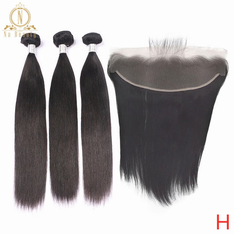 Straight Hair Bundles With Transparent Lace Frontal Peruvian Remy Human Hair Weave Pre Plucked Lace Frontal Closure With Bundles