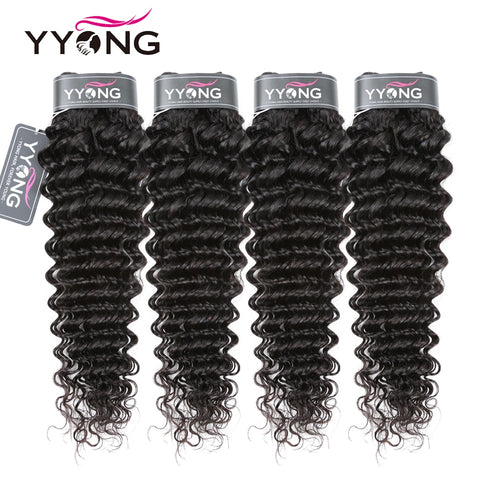 Yyong Peruvian Deep Wave Hair Bundles 3 Or 4 Bundle Deal 100% Human Hair Weave Bundle Deep Wave 8-30Inch Remy Hair Extension