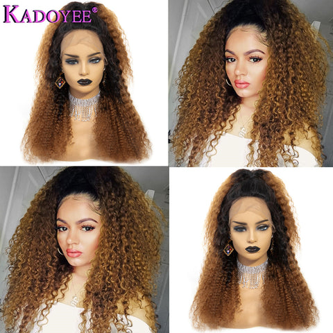Brazilian Kinky Curly Pre Plucked Lace Front Human Hair Wigs Ombre Hair Wig 1B30 Color Human Remy Curly Wig 13x4 Front Lace Wig