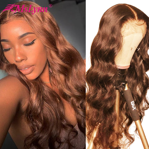 Lace Front Human Hair Wigs Brown Lace Front Wig Pre Plucked With Baby Hair Body Wave 360 Lace Frontal Wig For Women Mslynn 9A