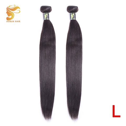 AOSUN HAIR Brazilian Straight Human Hair Extensions 8-30inch Natural Color 2 Piece Hair Weaving Bundles Remy Hair Free Shipping