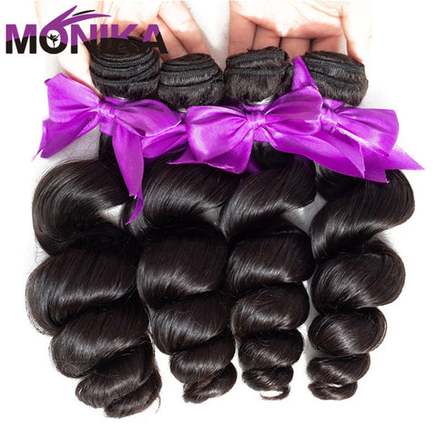 Monika 8-30 inch Bundles Loose Wave Bundles 100% Human Hair Bundle Peruvian Hair Bundles Natural Color Non-Remy Hair Extensions