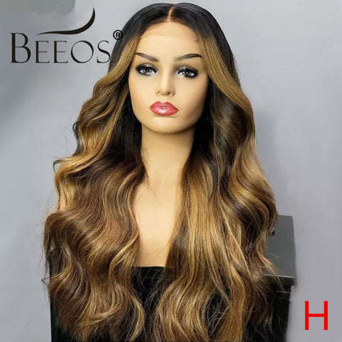 Beeos 150% 13*6 Lace Front Human Hair Wigs Ombre Colored Body Wave Brazilian Remy Pre Plucked With Baby Hair Bleached Knots