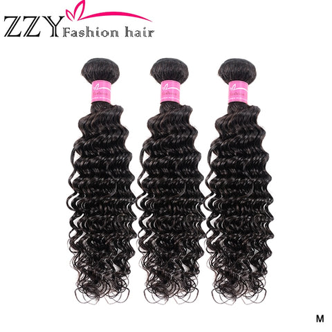 ZZY Fashion Hair Deep Wave Bundles Brazilian Hair Bundles Human Hair Extensions 3 Bundles Deal non-remy Hair Weave Bundles