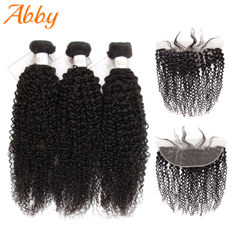 Mongolian Kinky Curly Bundles With Closure Frontal Human Hair Remy Bundles With 13x4 Frontal Curly Human Hair Weave High Quality