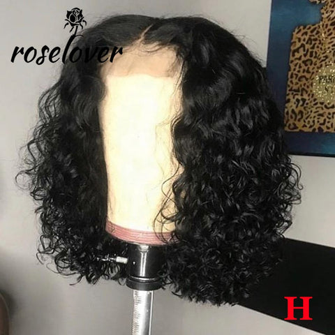 150% 4*4 Lace Closure Human Hair Wigs Pre Plucked with Baby Hair Middle Part Curly Lace Closure Wig Peruvian Remy Short Bob Wigs